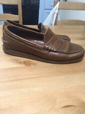 ALLEN EDMONDS McKinley Brown Leather Penny Loafers Boat Shoes 9 D Slip On