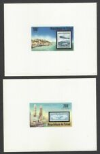 Chad #327/C209 75th Anniversary of the Zeppelin 1977 set of 2 proof cards