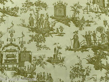 Zoffany Curtain Fabric L'ILE DES LANTERNES 3.75m Lime - Linen Toile Design 375cm