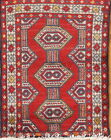 Vintage Geometric Moroccan Oriental Area Rug Hand-knotted Wool Red Carpet 2x3 ft