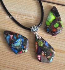Rainbow Sea Sediment Jasper & Pyrite Shield Necklace Pendant Reiki Healing