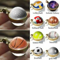 Classic Double Sided Glass Ball Sports Necklace Pendant Womens Mens Jewellery