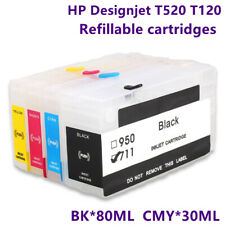 1SET Extended HP711 711XL Ink Cartridge Refillable Supply Ink For HP T520 T120