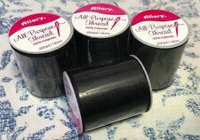 New 4 SPOOLS BLACK ALL PURPOSE SEWING THREAD 200YD/182M Each POLYESTER