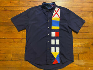 Men's Tommy Hilfiger Size L Heavily Branded Button up Shirt Nautical Sailboat