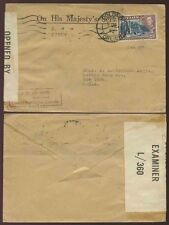 CEYLON WW2 1942 CENSORED to USA 25c on OHMS OFFICIAL ENVELOPE...DE VOS