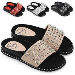 Womens Flat Studs Diamante Sliders Sandals Ladies Holiday Summer Slip On Mules