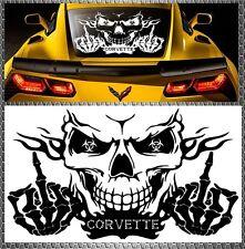 Skull Corvette Power Pegatina Sticker calavera Heck discos 58x34cm Chevrolet
