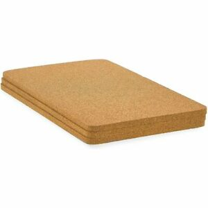 Rectangle Cork Trivet Set for Dining Table and Hot Dishes (12.5 x 6.6 in, 3x)