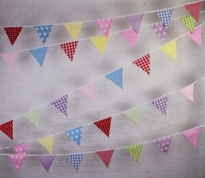 100% Cotton Bunting - Neapolitan - 10m/33 Double Sided Flags - Co