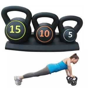 3pcs Kettlebell Set Kettlebells Weight Weights Sets Exercise Gym + Rack Stand UK