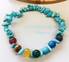 Gemstone Crystal Turquoise Chakra Beads Bracelet Birthstone Sagittarius Nov De B