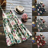Plus Size Women Floral Strappy Dress Summer Beach Holiday Oversize Pleated Dress