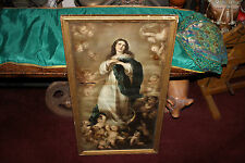 Antique Religious Christianity Framed Print-Virgin Mother Mary Angels Cherubs