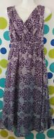 Isabella Bird Women's Size 4 100% Silk Purple Blue Ombre Floral Spring Dress
