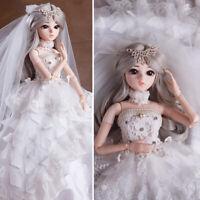 60cm 1/3 BJD Puppe mit Prinzessin Hochzeitskleid Full Set Outfit Mädchen Doll