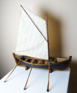 "Vintage handmade MODEL SAIL & ROW BOAT single sail with 5 oars 24"" x 7"""