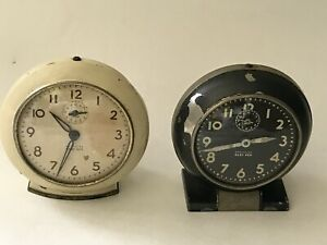 Lot of 2 Vintage Westclox Baby Ben Style Alarm Clocks Works Made in USA