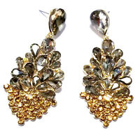 Topaz Color Chandelier Earrings Rhinestone Crystal 2.6 inch
