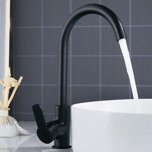Modern Kitchen Sink Mixer TapsSingle Lever Brass Bathroom Basin Tap Black //
