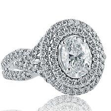 2.16 Ct Oval Cut Natural Diamond Engagement Halo Ring Split Shank 14k White Gold