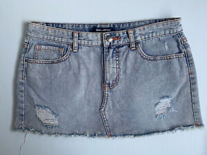 Billabong Size 10 Women Skirt - Blue Denim Distressed Mini Skirt %100 Cotton