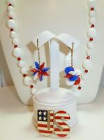 Patriotic Vintage Milk Glass Beaded Necklace, U.S. Pin, RED WHITE BLUE Earrings