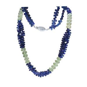 Natural BLUE SAPPHIRE Kyanite Dangle Briolette 14K Gold clasp beaded Necklace