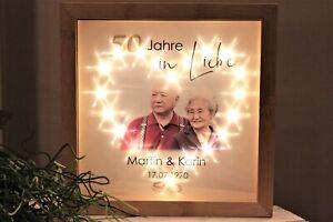 Geschenk Goldene Hochzeit Bilderrahmen Herz aus LED Namen Datum+IHR FOTO 50 J.