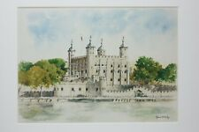 """Tower of London Mounted art print 14x11"""" of a watercolour by Lynne Kirby"""
