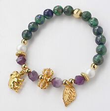 8mm Chrysocolla Pearl Round Beads Man Made Alloy Bracelet BFHM4