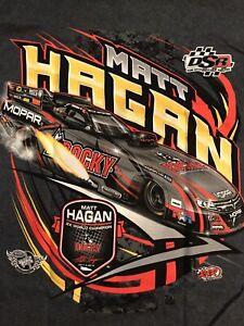 """NHRA DRAG RACING """"FUNNY CAR CHAMP"""" MATT HAGAN T- SHIRT Gray  SIZE MEDIUM"""