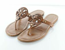 U14 $198 Women's Sz 8 M Tory Burch Miller Leather Medallion Thong Sandals