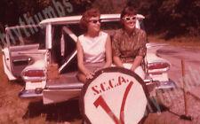 Two VTG Ektachrome 35mm Photo Slides Sports Car Club of America Cute Girls Sign