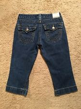 TRUE RELIGION CROPPED/CAPRI JEANS WITH GOLD ACCENTS...SIZE 30
