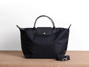 NEW Longchamp Le Pliage Neo black Medium Shoulder Tote Bag Authentic From France
