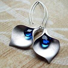 Chic Women Jewelry 925 Silver Blue Sapphire Ear Stud Hoop Dangle Bridal Earrings