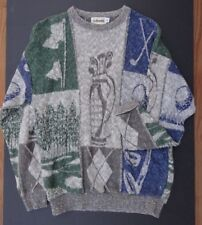 GOLFSMITH Golf Sweater Gray Blue Green Golf Image Collage  long sleeve SIZE XL
