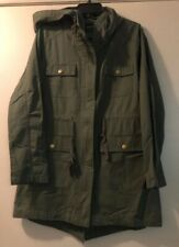 Women Military Jacket Green Long Sleeve Hoddie Size Large
