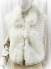 NEW ELIE TAHARI DYED FOX FUR JACKET LONG SLEEVE BEIGE LINED WHITE L LARGE SOFT