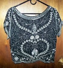 Silk Black Silver & Pearls Beaded Crop Top Shirt Bollywood Size M Vtg 1980s