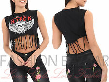 New Womans Distressed Laser Cut Crop Tank Top Rock Skull Fringe Holiday Vest Top
