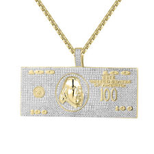 100 Dollar Pendant 14k Gold Finish Simulated Diamond Box Chain Hip Hop