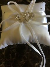 Wedding Ring Pillow 15 x 15 cm White Double Heart Crystal Rhinestone