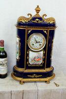 Huge  Cobalt blue porcelain sevres stylle Clock romantic victorian scene