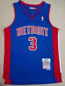 New #3 Ben Wallace 2003-04 Detroit Pistons Throwback Swingman Jersey Blue