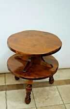 Vintage Round Table with bottom shelf Colonial style two tier Solid Wood tri leg