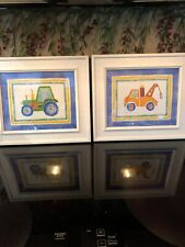 Adorable Little Boy'S Bedroom Wall Hangings/Wall Art Pictures -Tractor&Tow Truck