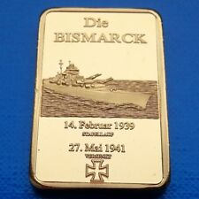 Bismarck WWII Battleship Ship 1939-1941 Commemorative Bar 45mm UNC unusual coin