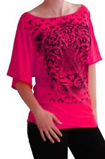 Womens Animal Leopard Print 3/4 Sleeve Boat Neck Tunic Tops Ladies Blouse